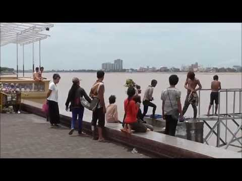 Street Kids Bathing In The Mekong