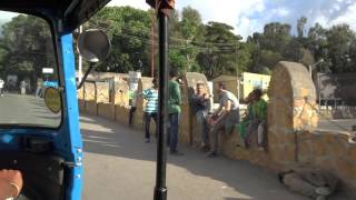 "Driving through Gondar, Ethiopia, in a tuktuk (tuktuks are called ""bajaj"" in Ethiopia)"