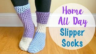 How To Crochet the Home All Day Slipper Socks, Episode 414