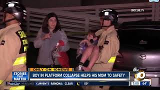 Boy helps mother to safety after platform collapses