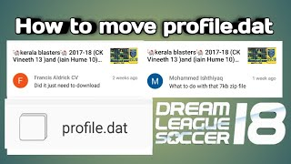 How to move profile.dat dream league soccer 2018 watching full video