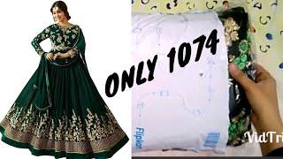 Flipkart best gown😍||flipkart georgette embroidered dress gown unboxing||flipkart dress review