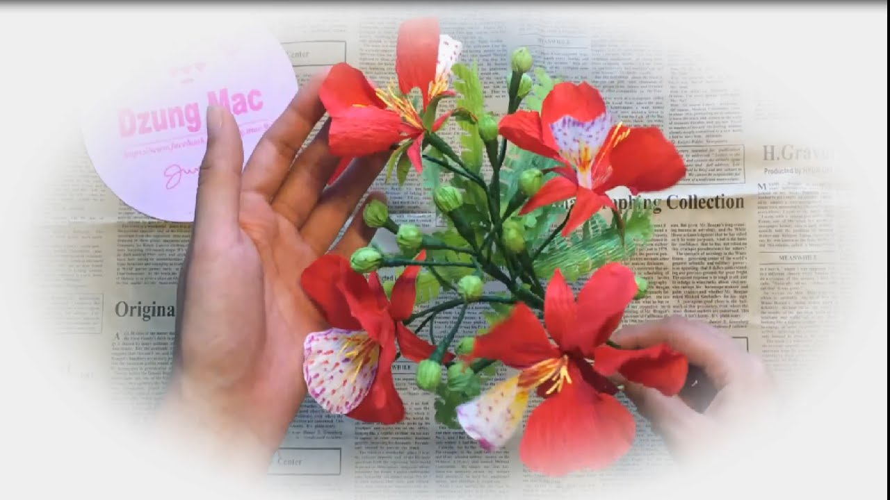 How To Make Paper Flowers Gold Mohur Flower Handmade By Dzung