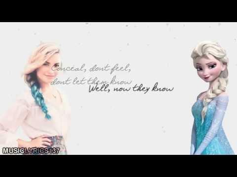 Demi Lovato & Idina Menzel  Let It Go {Mashup} Lyrics on screen