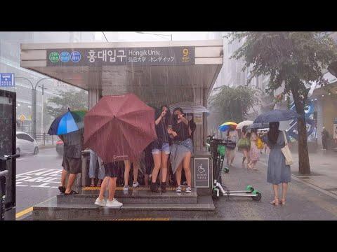 [4K] [Heavy Rain] Walking Tour Hongdae, Seoul, Art Street, Hapjeong Station 폭우 속 걷기 홍대, 홍대 예술거리, 합정역
