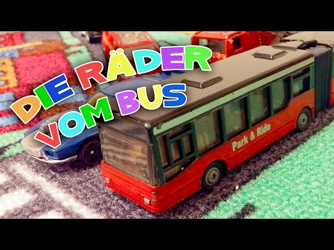 Fun with toy cars on playing rug - THE WHEELS ON THE BUS - Childrens Songs
