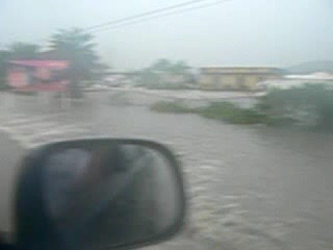 Airport road in Antigua is just flooded with water...