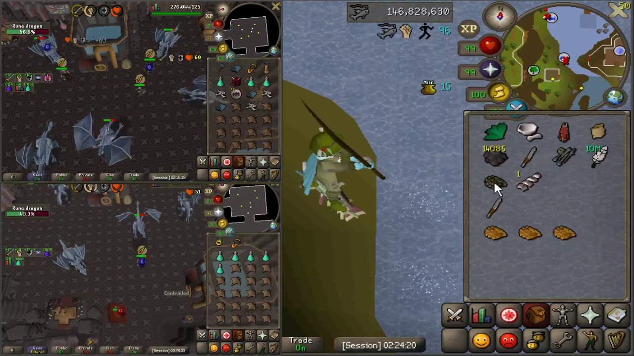 Fishing + 2 Rune Dragon alts