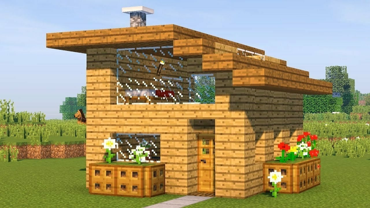 How To Build Simple Starter House With 2 Floors In Minecraft Youtube