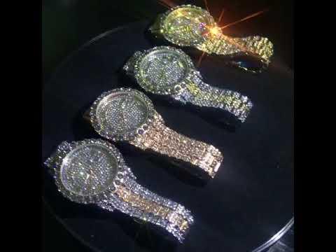 Missfox- Roman Numerals Face All Iced Out Men's Rolex Model Quartz Wrist Watch