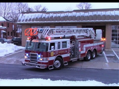 Pompton Lakes NJ Fire Department Engine 51 and Ladder 52 Responding out of Fire Headquarters