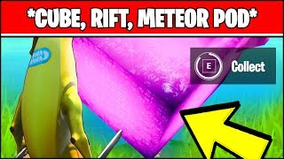 TOUCH A GIANT GLOWING CUBE, ENTER THE RIFT, AND SEARCH A LANDING POD WITHIN A METEOR (Fortnite)