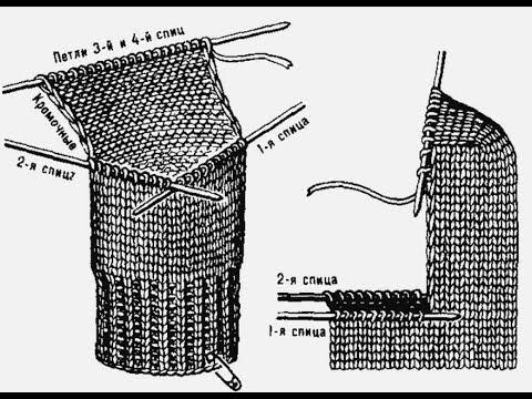 Как связать пятку у носков