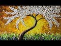 Paint a white leaves tree with Palette knife - Demo version
