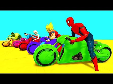 Learn Color MOTOR Cycles and Cars Fun Video w Superheroes 3d Cartoon Animation for Babies