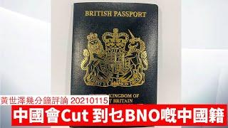 中國會Cut到邊批BNO嘅中國國籍 黃世澤幾分鐘 #評論 20210115