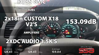 153 db on music 2 sundown x18's on 2 dc audio 3.5k's