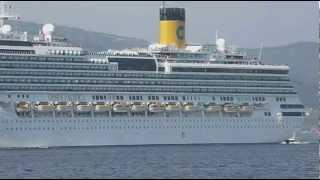 Película Buque crucero Italiano Costa Pacifica Partiendo del puerto de Vigo