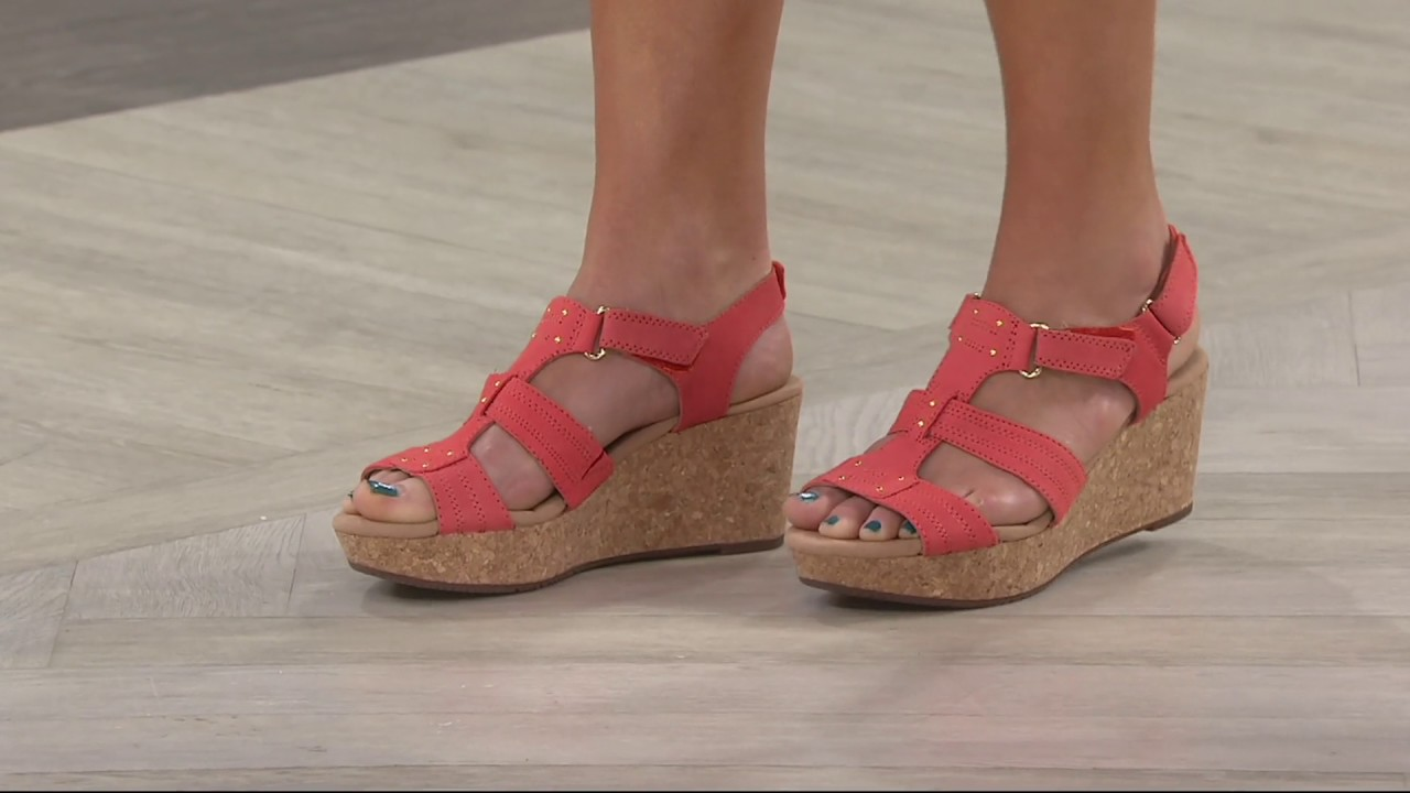 df75e2b4a2d Clarks Leather Triple Adjust Wedge Sandals - Annadel Orchid on QVC ...