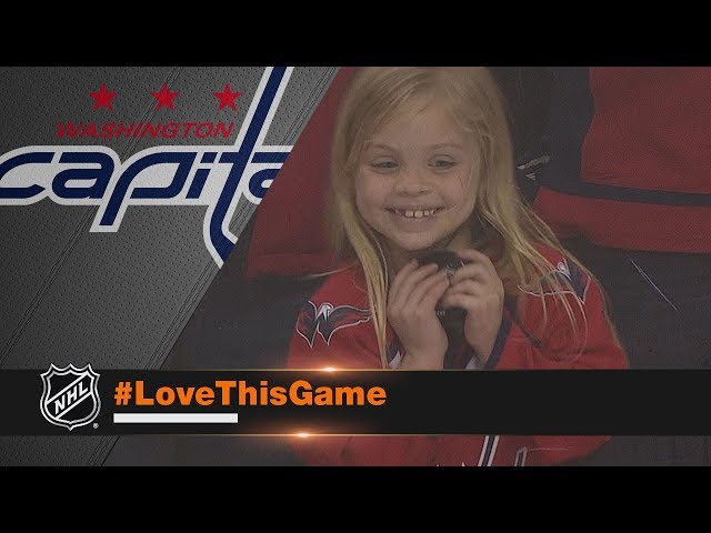 Young girl overjoyed after receiving puck from Brett Connolly