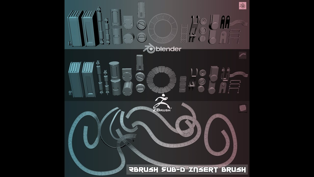 Blender/ Zbrush Insert Brush Creation Timelapse (non-narrated) by  masterxeon1001