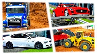 YELLOW DUMP TRUCKS in Spiderman Cartoon with Cars for Kids and Nursery Rhymes Songs for Children