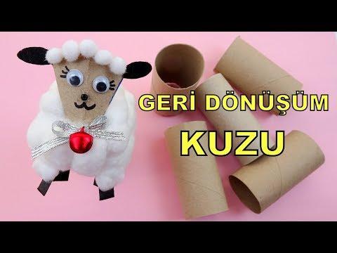 KAĞIT RULODAN KUZU YAPIMI! / Geri Dönüşüm / DIY Toilet Paper Roll Sheep