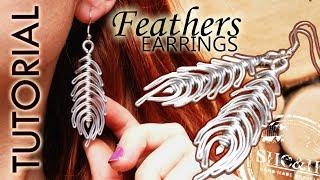 DIY tutorial wire wrapped earrings, kolczyki pióra boho, wire wrapping
