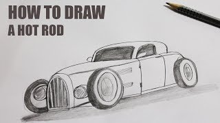 How to draw a Hot Rod easy - Hot Rod Drawings