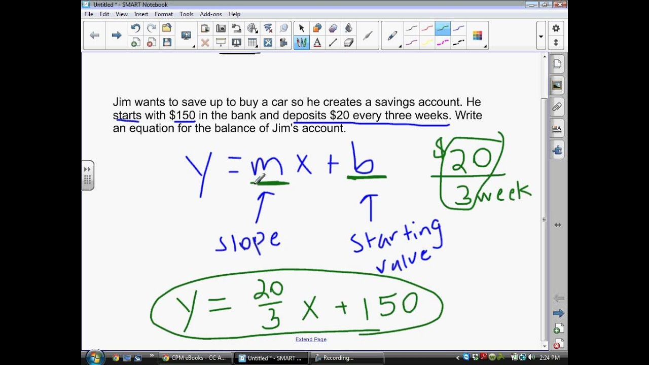 Writing Linear Equations From Situations And Graphs