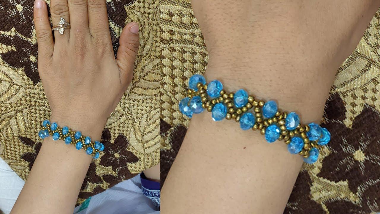 Make Blue Pearls and Moti beautiful Bracelet