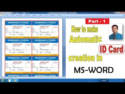 Automatic ID card creation in Microsoft word | Part-1