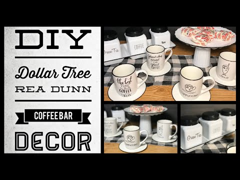 Dollar Tree DIY Farmhouse Kitchen Decor - Enamel Coffee Bar Rae Dunn Inspired Decor - Simple & Cheap