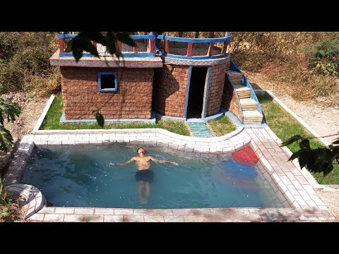 How to build mud house, Rice gardend and beautiful swimming pool.