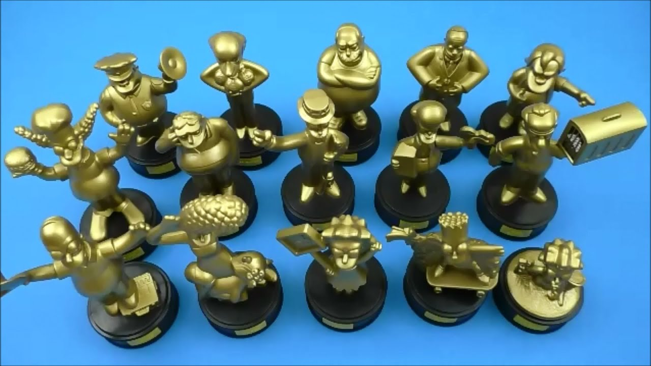 Burger King The Simpsons Movie Complete Set Of 15 Talking Gold Statues Kids Meal Toys Review 2007 Youtube