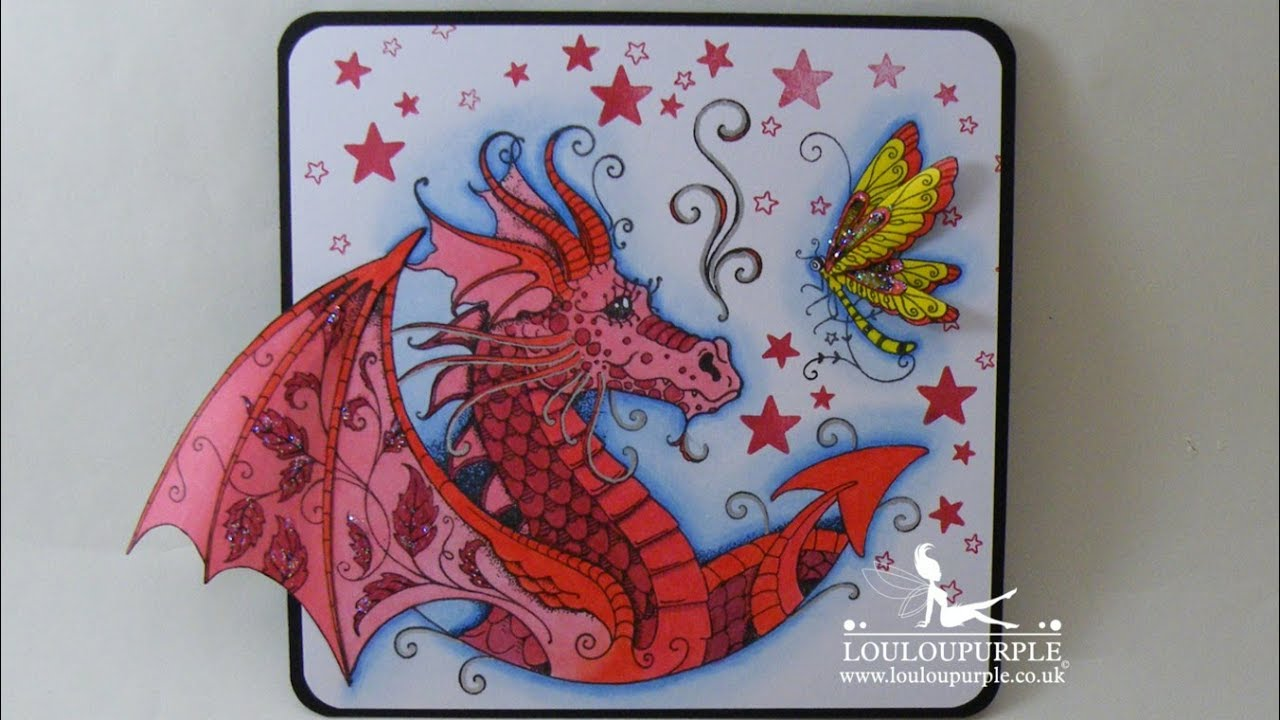 d19871793c0a3 Mixed Media Dragons Using Pink Ink Stamps. - YouTube