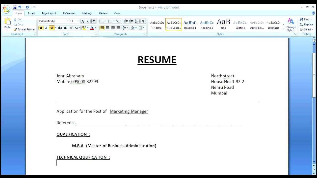 format - Making Resume In Word