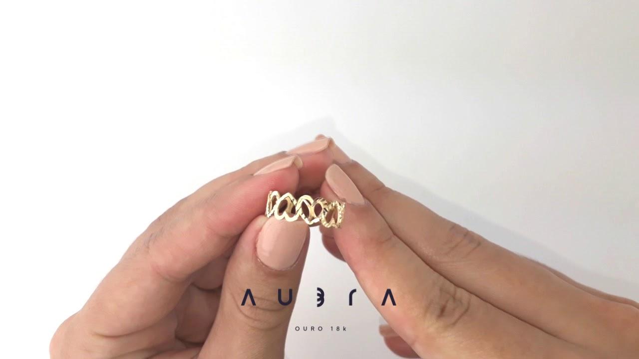 Anel de ouro 18k coração vazado Aubra Joias - YouTube 446662686d