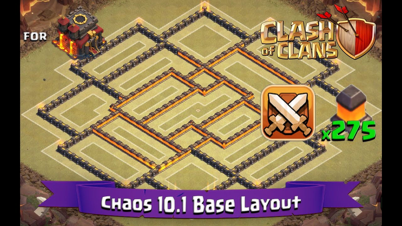 Clash of clans th10 best clan war base layout 275 walls chaos