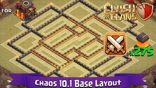 Clash Of Clans: TH10 | BEST Clan War Base Layout (275 Walls) - Chaos 10.1