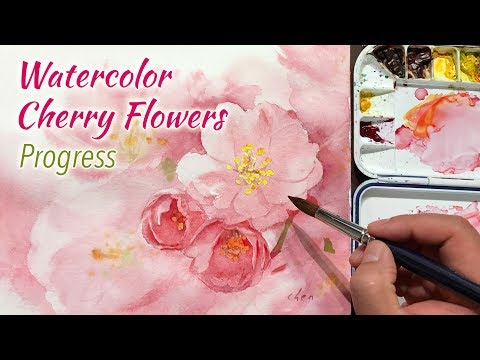 Watercolor Flower Painting - Cherry Flowers in progress