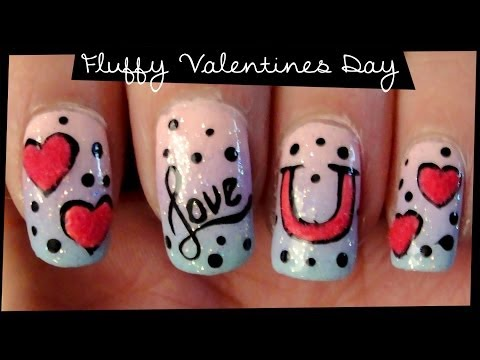 Fluffy Valentines Day nail art