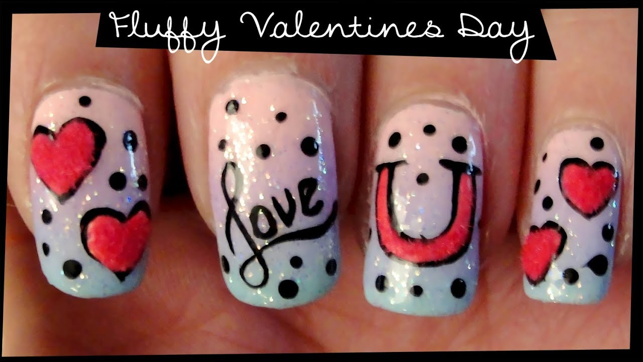 - Fluffy Valentines Day Nail Art - YouTube