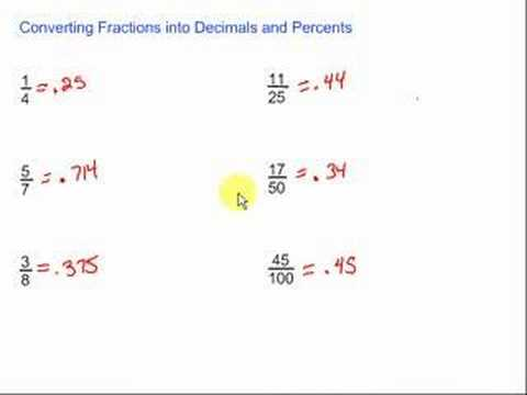 Converting Fractions Into Decimals Amp Percents Youtube