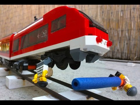 Thumbnail: Lego money train robbery. Two crooks derailing a train