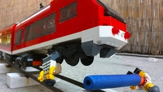 Lego money train robbery. Two crooks derailing a train