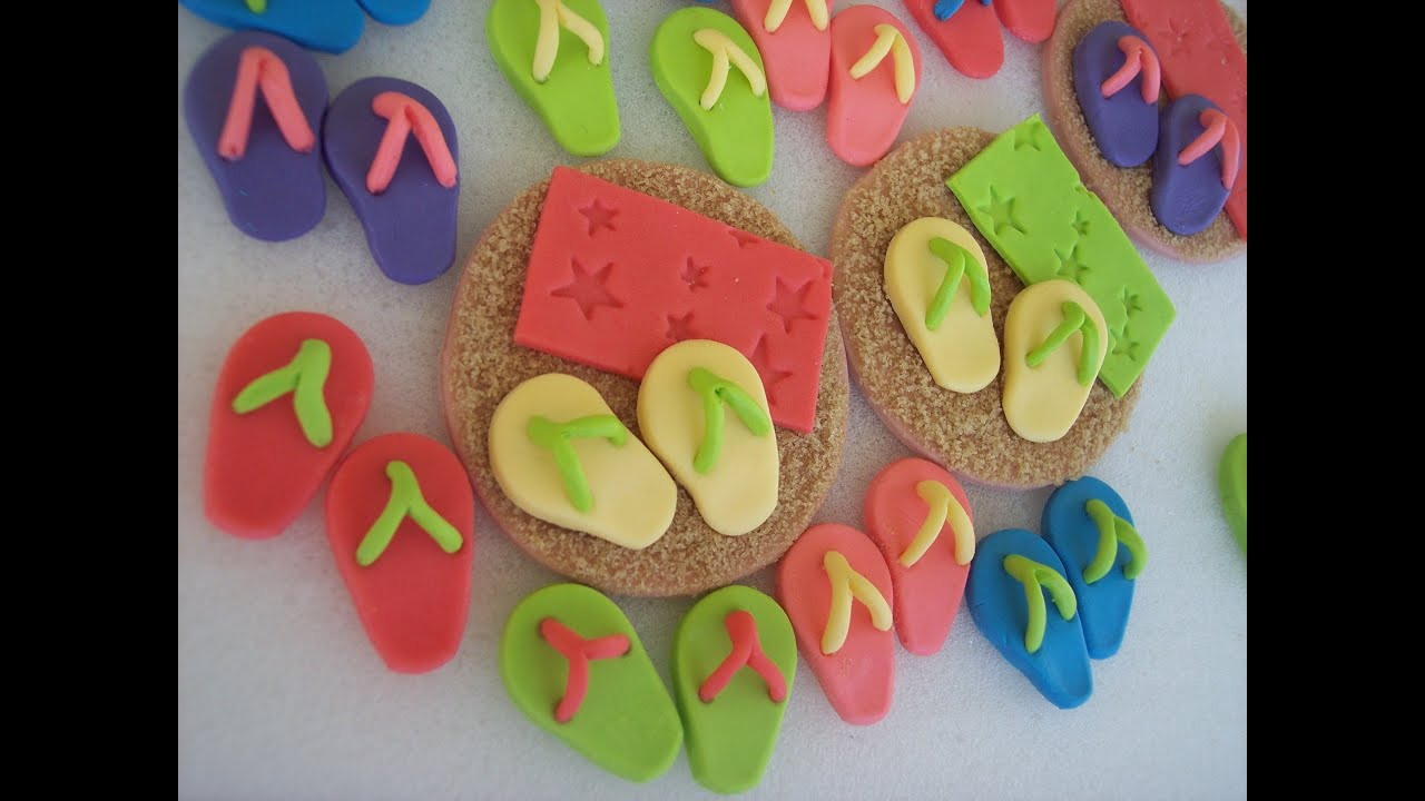 3ae0c57c6ec206 How to Make Gumpaste Flip Flop Cupcake Toppers - YouTube