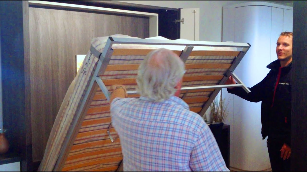 bookshelf murphy bed (modern wall bed + bookshelf in front) - youtube