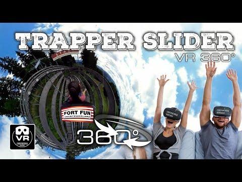 360° Trapper SLIDER | Alpine Roller Coaster on-ride Fort Fun - 4K #360video VR Sauerland Travel Trip