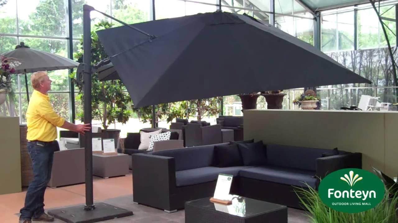 een grote vrijhangende parasol kopen fonteyn youtube. Black Bedroom Furniture Sets. Home Design Ideas
